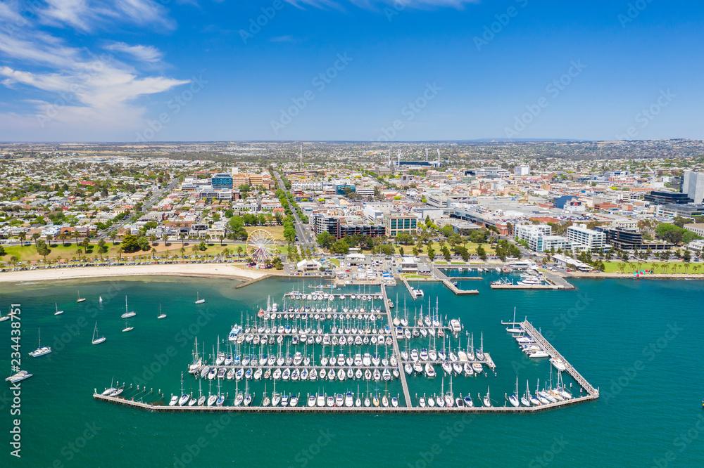Fototapeta Aerial photo of Geelong in Victoria, Australia