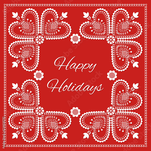 Fotografija  Folk art Happy Holidays card vector template
