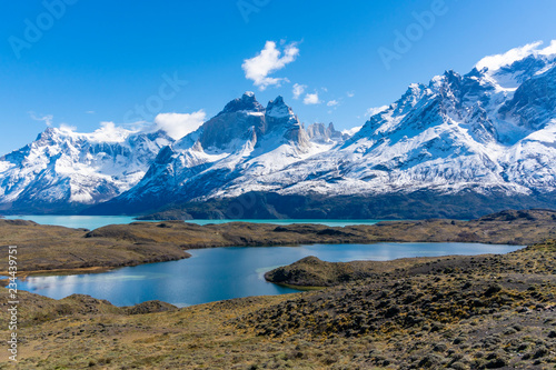 Fotografie, Obraz  Mountains and lake in Torres del Paine National Park in Chile