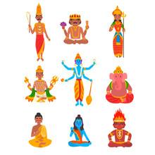 Indian God Set, Varuna, Brahma...