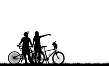 Silhouette Vintage Bike And Love Couple On White Background