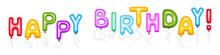 Happy Birthday Sign Of Color Balloons. Vector Illustration To Use For Birthday Party.