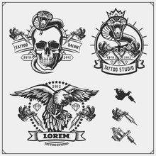 Set Of Tattoo Salon Labels, Badges And Design Elements. Tattoo Studio Emblems With Professional Equipment, Skull, Eagle And Cobra.