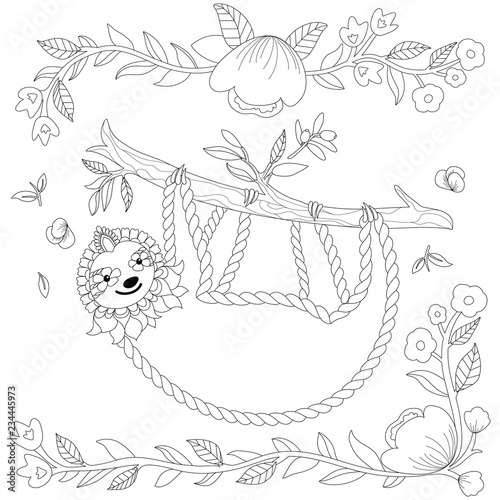 Vector ornate cute sloth on the tree, coloring page. Animal ...