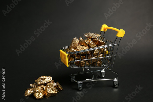 Fototapeta  Small shopping cart with gold nuggets on dark background