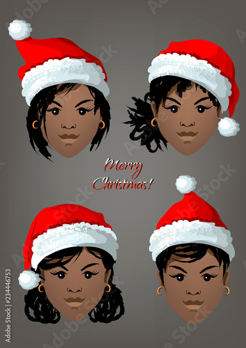 Christmas Hairstyles For Black Girls.Set Of Faces Of Black Girls With Christmas Santa Hats And