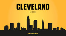 Cleveland Ohio City Silhouette And Yellow Background