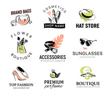Vector Collection Of Different Fashionable Lady Logo For Accessory & Clothing Shop, Aroma & Shoe Boutique, Cosmetics & Hat Store, Floral Market. Hand Drawn Fashion Elements - Shoe, Perfume, Sunglasses