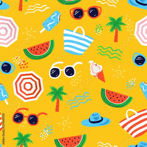 Fototapeten Künstlich Colorful seamless summer pattern with hand drawn beach elements such as sunglasses, palm, watermelon slice, tote bag, umbrella, ice cream, waves, sand. Fashion print design, vector illustration