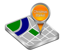 Map Pointer With Christmas Market - 3D Illustration