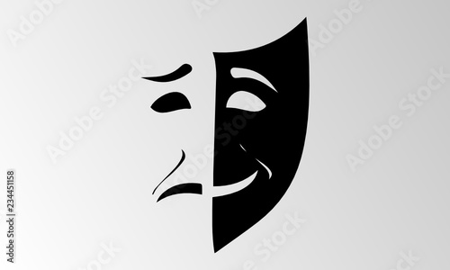 Obraz na plátně Theater mask isolated illustration character tragedy comedy