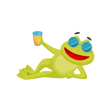 Funny Frog In Sunglasses Lying Isolated On White Background. Green Toad Holding Glass Of Orange Juice. Flat Vector Icon