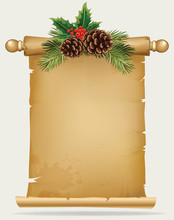 Vector Branch Of Christmas Tree With Pine Cone And Old Paper Scroll