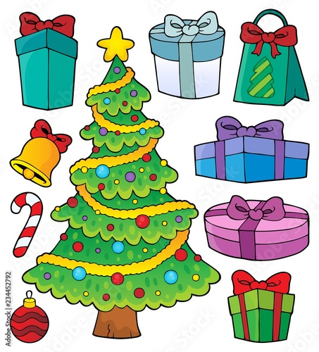 Christmas tree and gifts topic set 1