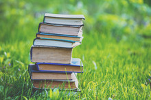 The Stack Of Books Outdoors On...