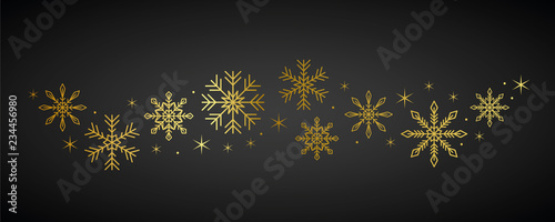 golden snowflakes and stars border on dark background vector illustration EPS10 Canvas Print