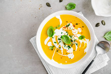 Pumpkin Creamy Soup Served In ...