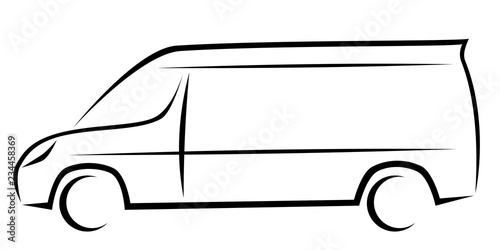 Valokuvatapetti Dynamic vector illustration of a van as a logo for delivery or courier company