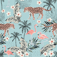 Tropical Leopard Animals, Pink Flamingo Birds, Plumeria Flowers, Palm Leaves, Trees Blue Background. Vector Seamless Pattern. Graphic Illustration. Summer Beach Floral Design. Paradise Nature
