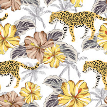 Tropical Leopard Animal, Yellow Hibiscus Flowers, Palm Leaves, White Background. Vector Seamless Pattern. Graphic Illustration. Exotic Jungle Plants. Summer Beach Floral Design. Paradise Nature