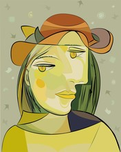 Colorful Abstract Background, Cubism Art Style, Woman Brown Hat