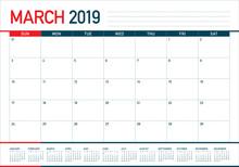 March 2019 Desk Calendar Vecto...