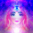 canvas print picture - Woman with third eye, psychic supernatural senses