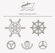 Equipment for transport driving logo set. Ship steering wheel thin line icons. Vector illustration