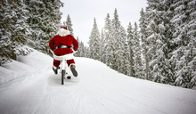 Santa Claus On Winter Road