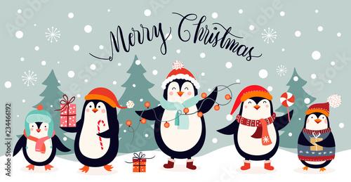 Fotografie, Tablou Christmas card design with cute penguins on an winter landscape