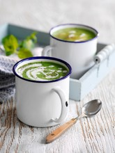 Cream Of Pea Soup With Mint In...