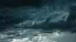 Leinwandbild Motiv Dramatic black clouds and motion, Dark sky with thunderstorm before rainy