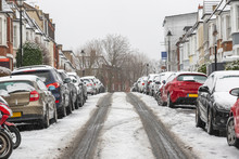 London Street Covered In Winter Snow