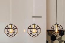 Lamp In Modern Style With Edison's Light Bulb. Warm Tone Light Bulb Lamp. Stylish Interior.