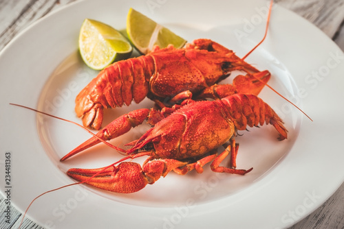 Dish of boiled crayfish with sauce