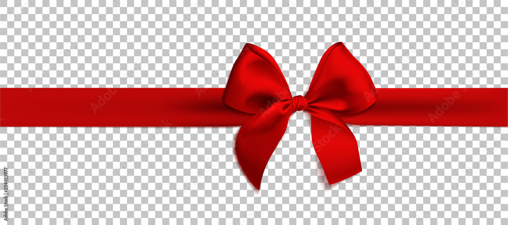 Fototapeta Realistic red bow and ribbon isolated on transparent background. Template for brochure or greeting card. Vector illustration.