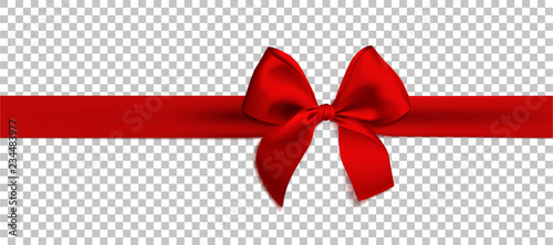 Realistic red bow and ribbon isolated on transparent background Tapéta, Fotótapéta