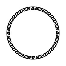 Circle Frame Of Simple Greek P...