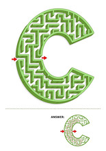 Learning Alphabet Activity - Letter C Three-dimensional Maze. Use It As Is Or Add Fun Cartoon Characters. Answer Included.