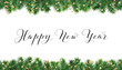 Happy New Year calligraphy. Christmas tree frame, seamless garland