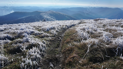 Fotografiet A frosty autumn view of the Appalachian Trail in Tennessee.