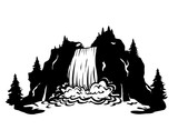 waterfall Silhouette vector