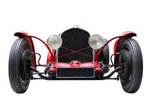 Front View Of Red Veteran Car....