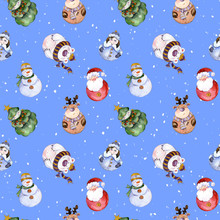 Seamless Pattern With Funny Christmas Characters (Snow Maiden, Caribou, Polar Bear, Christmas Tree, Snowman) On Snowy Background. Watercolor Painting.