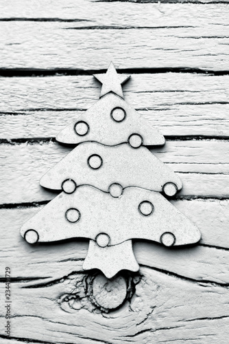 Valokuva  white christmas tree on a white background
