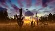 Cactus Dead Tree and Plants Sunrise Scenery 4K Nature Stock Footage Animation