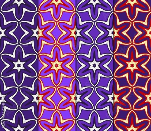 Set of Beautiful geometric ornament. seamless art-deco pattern. vector illust...