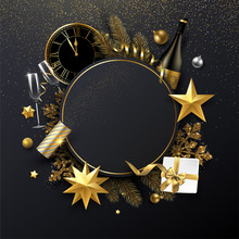 Christmas And New Year Round Card With Christmas Decorations, Gift, Champagne And Clock.