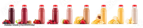 Nine tastes of smoothie in plastic bottle with fruit isolated on white background