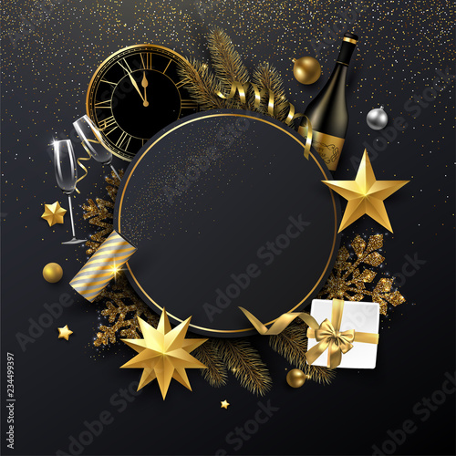 Cuadros en Lienzo Christmas and New Year round card with Christmas decorations, gift, Champagne and clock
